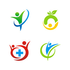 people health abstract design logo set