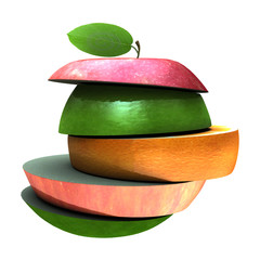 various type of fruit slices stacked
