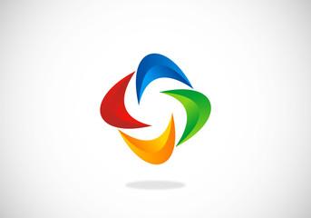 abstract circle color 3D vector logo