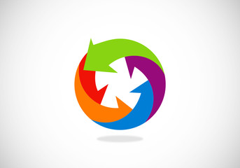 arrow circle color vector logo