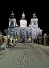 Морской собор Святителя Николая Чудотворца  зимней ночью
