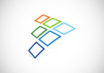 square dimensional 3D construction vector logo