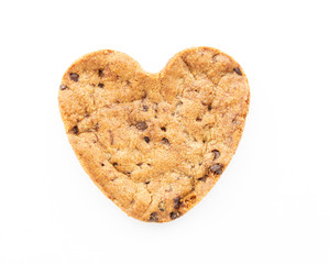 Heart shape chocolate chip cookie isolated