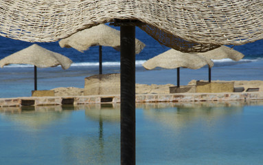 Beach umbrellas in Marsa Alam - Egypt