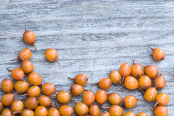 Sea buckthorn (Hippophae rhamnoides) barries.