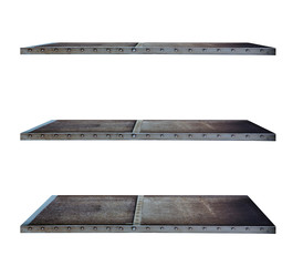 Industry style shelves made of steel, isolated on white