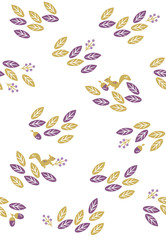 Seamless pattern of leaves and squirrels
