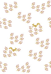 Seamless pattern of berries and squirrels