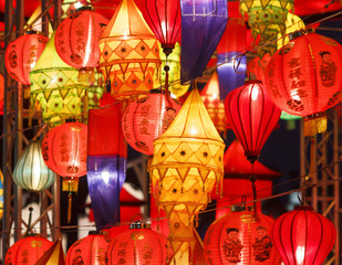 Indian lanters(yellow) and chinese lanterns in lantern festival.