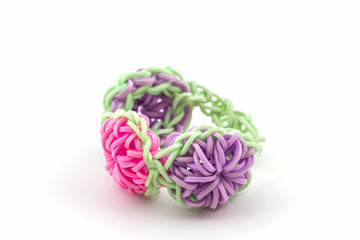 Colorful of elastic rainbow loom bands .