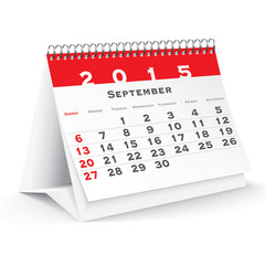 September 2015 desk calendar - vector