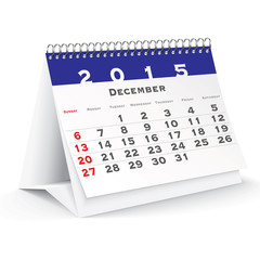 December 2015 desk calendar - vector