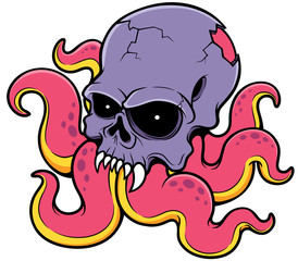 Vector illustration of Cartoon Skull octopus