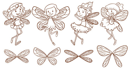 Simple sketches of a fairy