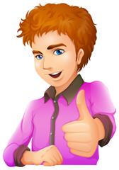 A handsome man wearing a purple longsleeve