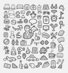 Set of hotel and vacation icons sketch