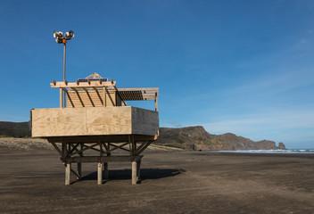 lifeguard tower at Bethells beach, New Zealand