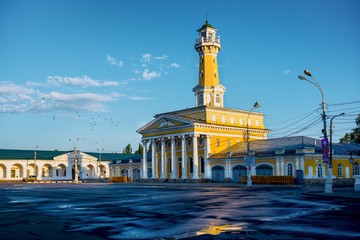 Fire town in Russian tower Kostroma