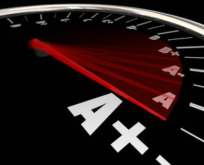A Plus Grade Score Speedometer Rising Increase Improve Performan