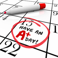 Have an A Plus Day Words Circled Calendar