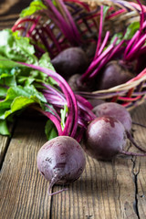 Fresh vegetables beetroot on  wooden background