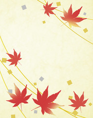 和紙に描いた紅葉