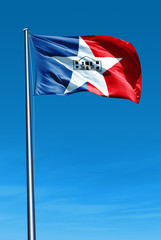 San Antonio (USA) flag waving on the wind