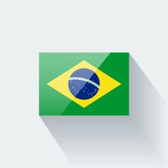 Isolated glossy flag of Brazil