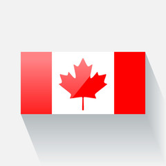 Isolated glossy flag of Canada