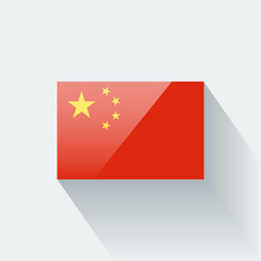 Isolated glossy flag of China