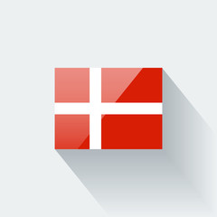 Isolated glossy flag of Denmark