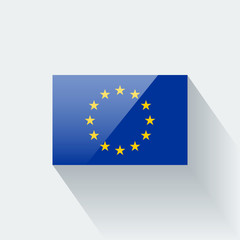 Isolated glossy flag of European Union