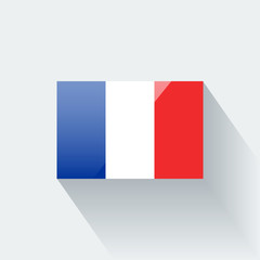 Isolated glossy flag of France