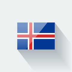 Isolated glossy flag of Iceland