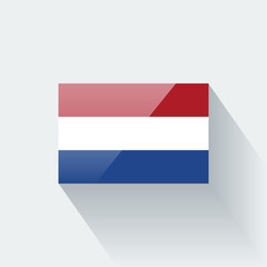Isolated glossy flag of Netherlands