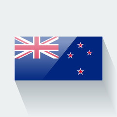 Isolated glossy flag of New Zealand