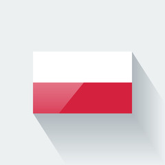 Isolated glossy flag of Poland