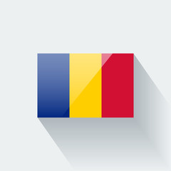 Isolated glossy flag of Romania