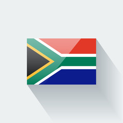 Isolated glossy flag of South Africa