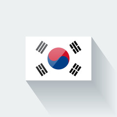Isolated glossy flag of South Korea