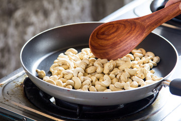 cashews in pan