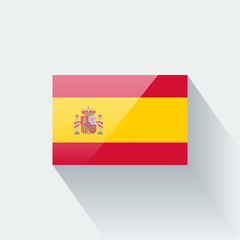 Isolated glossy flag of Spain