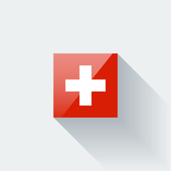 Isolated glossy flag of Switzerland