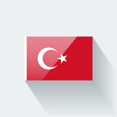 Isolated glossy flag of Turkey