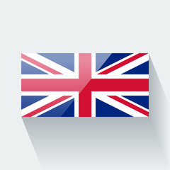 Isolated glossy flag of the UK
