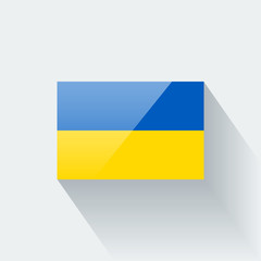 Isolated glossy flag of Ukraine