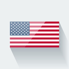 Isolated glossy flag of the USA