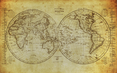 vintage map of the world 1839..
