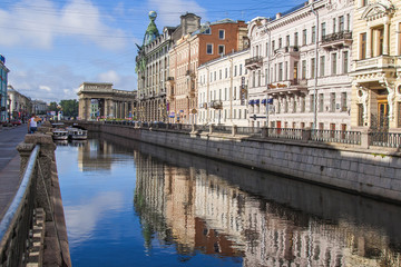 St. Petersbur, Russia. Griboyedov Canal Embankment and reflectio