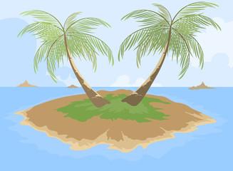Island with palm tree cartoon scene